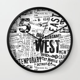 East West Grunge Distressed black white #urban typography Wall Clock