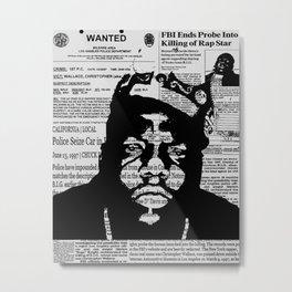 Notorious BIG Newsprint Metal Print
