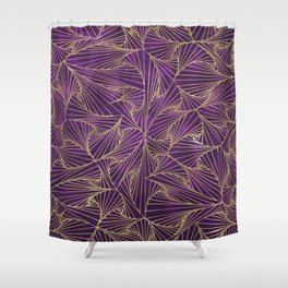Tangles Violet and Gold Shower Curtain