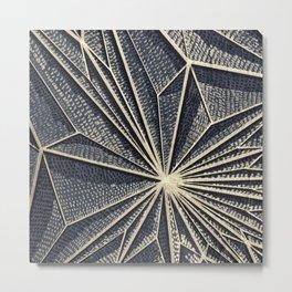Geometric Pattern on Wood, Gold Lines, Rise Detail Metal Print