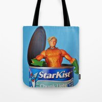 aquaman Tote Bags featuring The Wrong Place At The Wrong Time by Beastie Toyz