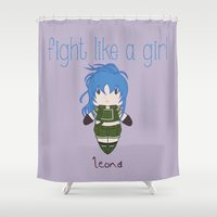 snk Shower Curtains featuring Fight Like a Girl - The King of Fighters' Leona Heidern by ~ isa ~