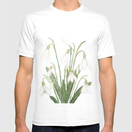 white snowdrop flower watercolor T-shirt