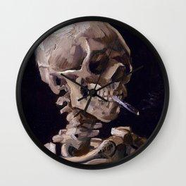 Vincent Van Gogh - Skull with Burning Cigarette (new color edit) Wall Clock