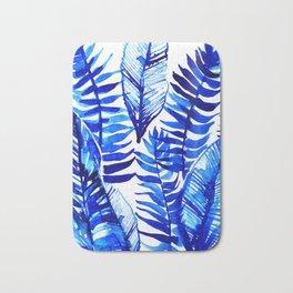 Jungle Leaves & Ferns in Blue Bath Mat