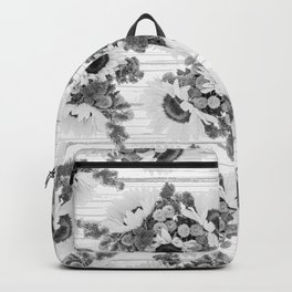 Country rustic black white wood sunflower floral Backpack