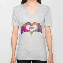 Heart Watercolor Art Print Love Hands Valentine's Day Unisex V-Neck