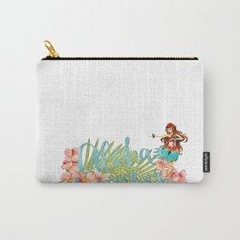 Aloha- Alohabeaches with tropical flowers Palm leaf and Hula Girl Carry-All Pouch