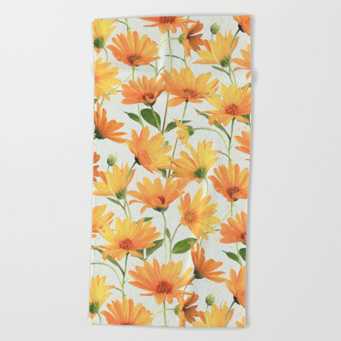 Painted Radiant Orange Daisies on off-white Beach Towel