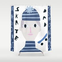 dad Shower Curtains featuring Skate Dad by Susse Collection