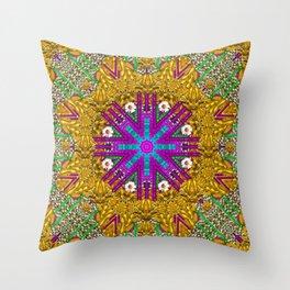 Golden retro medival festive fantasy nature Throw Pillow