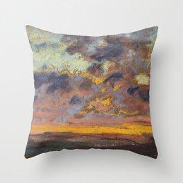 "Claude Monet ""Coucher de soleil"" Throw Pillow"