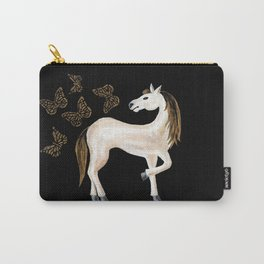 Golden Horse and Butterflies Carry-All Pouch