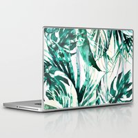 paradise Laptop & iPad Skins featuring Green Tropical paradise  by Nikkistrange