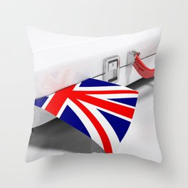 White suitecase with english flag - 3D rendering illustration Throw Pillow