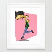 destiel Framed Art Prints featuring Destiel by doodle bags