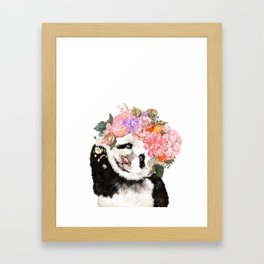 Baby Panda with Flowers Crown Framed Art Print