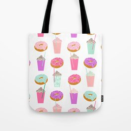Coffee and Donuts pastel pink mint cute pattern gifts for valentines day love Tote Bag
