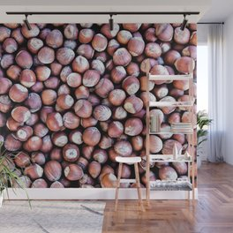 Pattern Of Hazel Or Filbert Nuts Of Brown Color Wall Mural