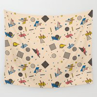 eames Wall Tapestries featuring Memphis Inspired Pattern 9 by Season of Victory