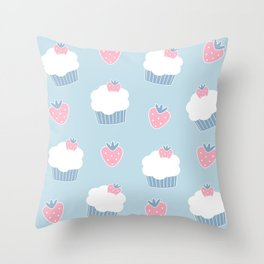 Cute cartoon cupcakes and strawberries pattern Throw Pillow
