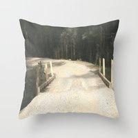 wooden Throw Pillows featuring Wooden Bridge by Chris' Landscape Images & Designs