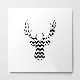 Zig Zag Modern Deer Head Metal Print