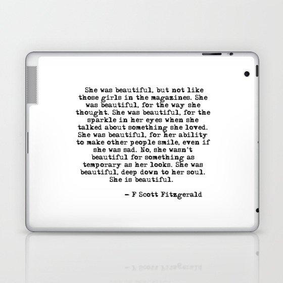 She was beautiful - Fitzgerald quote Laptop & iPad Skin