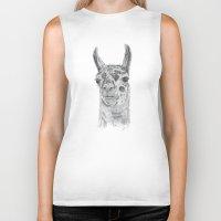llama Biker Tanks featuring Llama by Condor