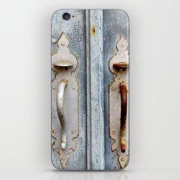 Antique blue door iPhone Skin