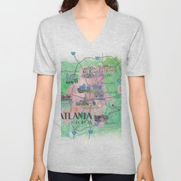 Atlanta Favorite Map with touristic Top Ten Highlights Unisex V-Neck