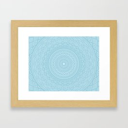 Light Sky Blue Aztec Tribal Mandala Detailed Intricate Unique Framed Art Print