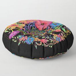 Neon Mandala and Flowers Floor Pillow
