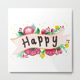 Watercolor Happy Flowers Banner Metal Print