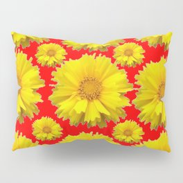 "YELLOW COREOPSIS ""TICK SEED"" FLOWERS RED PATTERN Pillow Sham"
