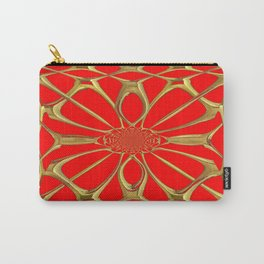 Modernistic Red-Gold Metallic Floral Web Art Design Carry-All Pouch