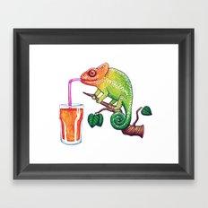 Chameleons Love Orange Juice Framed Art Print