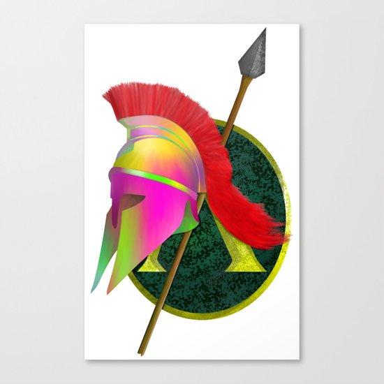 Spartan Helmet Colorful Canvas Print