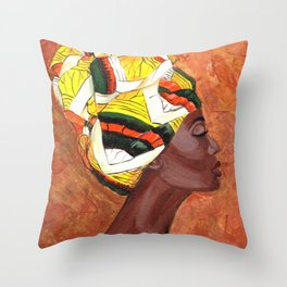 African American Woman Throw Pillow