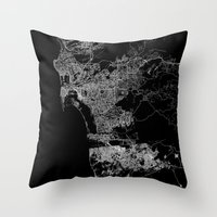 san diego Throw Pillows featuring san diego map by Line Line Lines