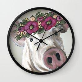 Cute Pig Painting, Farm Animal Art Wall Clock