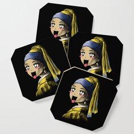 Kawaii with a Pearl Earring Coaster