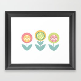 Geometric flower print  Framed Art Print