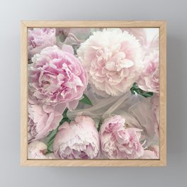 Shabby Chic Pastel Pink Peonies Wall Art - Peonies Home Decor Framed Mini Art Print
