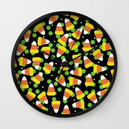 Candy Corn Jumble (black background) Wall Clock
