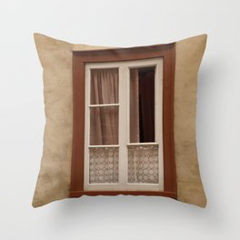 Window in a brown wall Throw Pillow