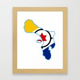 Bonaire Map with Flag Framed Art Print