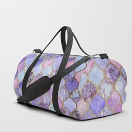 Royal Purple, Mauve & Indigo Decorative Moroccan Tile Pattern Duffle Bag