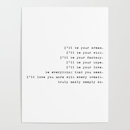 Truly Madly Deeply - Lyrics Collection Poster
