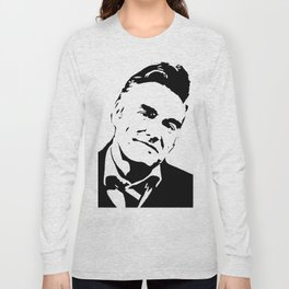 Painting of singer and lyricist from The Smiths, acrylic on canvas, monochrome pop stencil art. Long Sleeve T-shirt